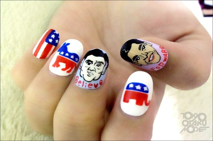 Obama and Romney Nail Art! (1/18)