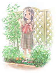 A girl and a watering pot