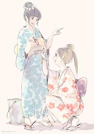 2 girls wear Japanese summer kimono