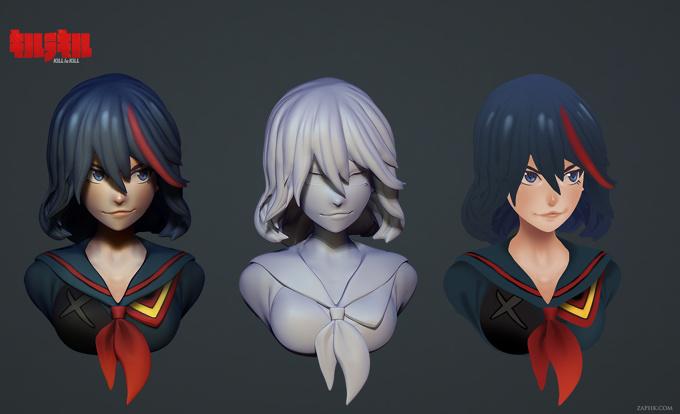 Anime Characters Zbrush : Kill la matoi tokyo otaku mode gallery