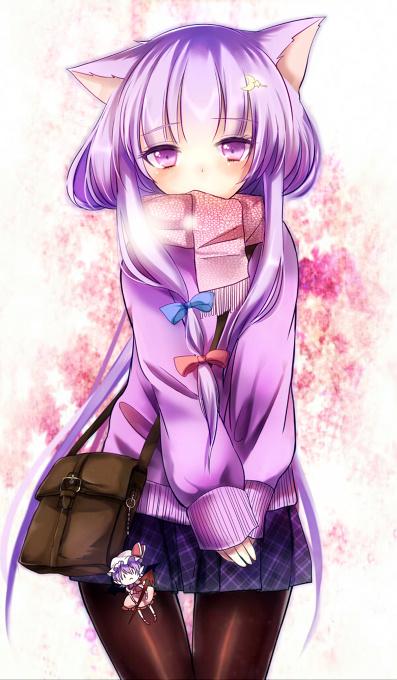Purple Hair Anime Cat