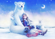 A Polar Bear Family and a Crescent Moon Night