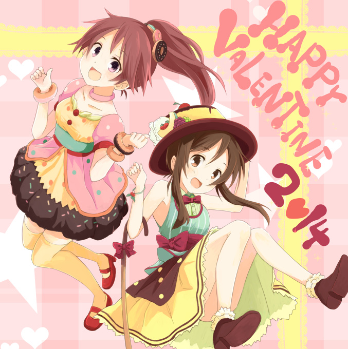 Image result for anime girl with brown hair in valentine day