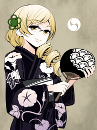 Mami in a Yukata and Glasses.