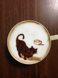 cat and latte in the latte