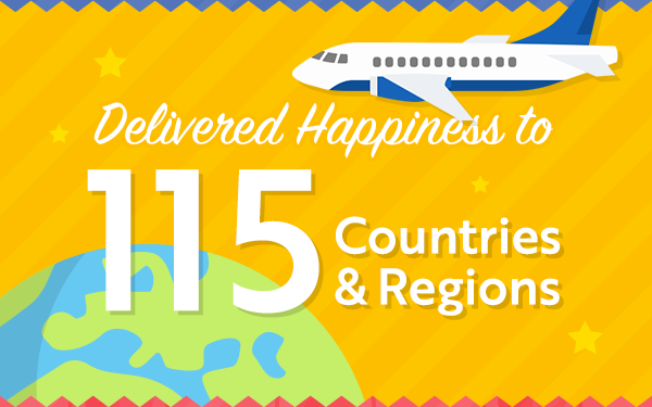Delivered Happiness to 115 Countries & Regions