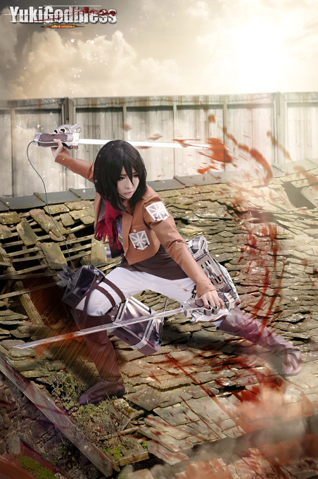 mikasa ackerman from Attack on Titan cosplay